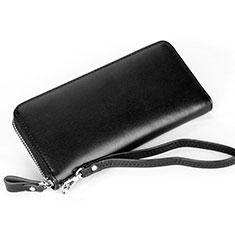 ハンドバッグ ポーチ 財布型ケース レザー ユニバーサル H13 ブラック