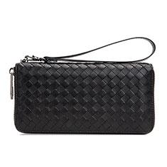菱形ハンドバッグ ポーチ 財布型ケース レザー ユニバーサル H15 ブラック