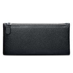 ハンドバッグ ポーチ 財布型ケース レザー ユニバーサル H17 ブラック
