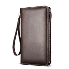 Oppo A15用ハンドバッグ ポーチ 財布型ケース レザー ユニバーサル H19 ブラウン