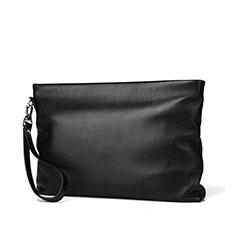 Oppo A15用ハンドバッグ ポーチ 財布型ケース レザー ユニバーサル H20 ブラック