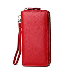 Oppo A15用ハンドバッグ ポーチ 財布型ケース レザー ユニバーサル H21 レッド