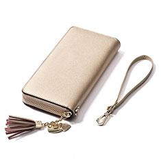 Oppo A15用ハンドバッグ ポーチ 財布型ケース レザー ユニバーサル H24 ゴールド