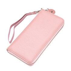 Oppo A15用lichee パターンハンドバッグ ポーチ 財布型ケース レザー ユニバーサル ピンク