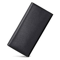 Oppo A15用lichee パターンハンドバッグ ポーチ 財布型ケース レザー ユニバーサル ブラック
