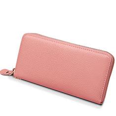 Oppo A15用lichee パターンハンドバッグ ポーチ 財布型ケース レザー ユニバーサル H25 ピンク