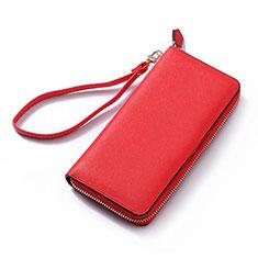 Oppo A15用ハンドバッグ ポーチ 財布型ケース レザー ユニバーサル H26 レッド