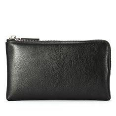 Oppo A15用ハンドバッグ ポーチ 財布型ケース レザー ユニバーサル H27 ブラック