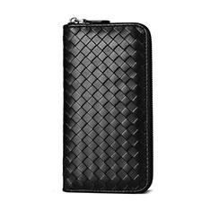 Oppo A15用織りハンドバッグ ポーチ 財布型ケース レザー ユニバーサル ブラック