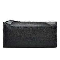 Oppo A15用ハンドバッグ ポーチ 財布型ケース レザー ユニバーサル H30 ブラック