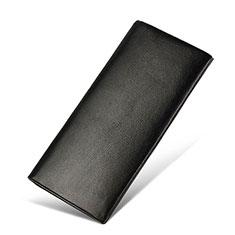 Oppo A15用ハンドバッグ ポーチ 財布型ケース レザー ユニバーサル H31 ブラック