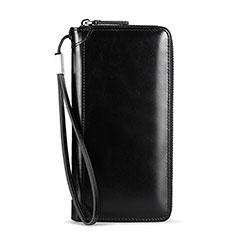 Oppo A15用ハンドバッグ ポーチ 財布型ケース レザー ユニバーサル H32 ブラック