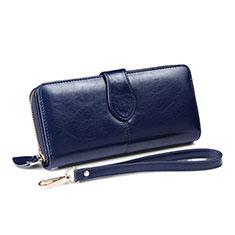 Oppo A15用ハンドバッグ ポーチ 財布型ケース レザー ユニバーサル H33 ネイビー