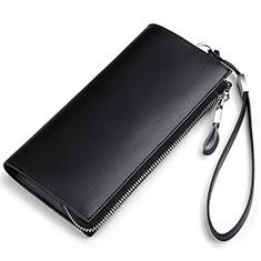 Huawei Nova 3e用ハンドバッグ ポーチ 財布型ケース レザー ユニバーサル H34 ブラック