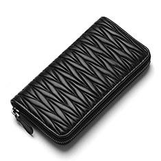 Doogee X70用ハンドバッグ ポーチ 財布型ケース レザー ユニバーサル H35 ブラック