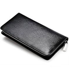 Doogee X70用ハンドバッグ ポーチ 財布型ケース レザー ユニバーサル H39 ブラック