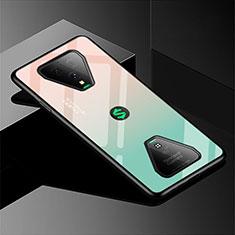 Xiaomi Black Shark 3用ハイブリットバンパーケース プラスチック 鏡面 虹 グラデーション 勾配色 カバー Xiaomi グリーン