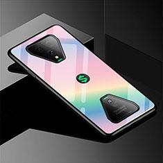 Xiaomi Black Shark 3用ハイブリットバンパーケース プラスチック 鏡面 虹 グラデーション 勾配色 カバー Xiaomi ピンク