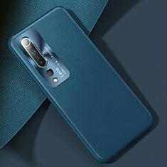 Xiaomi Mi 10用ケース 高級感 手触り良いレザー柄 R01 Xiaomi シアン