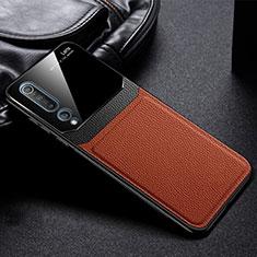 Xiaomi Mi 10用360度 フルカバー極薄ソフトケース シリコンケース 耐衝撃 全面保護 バンパー C05 Xiaomi ブラウン