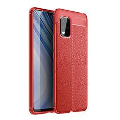 Xiaomi Mi 10 Lite用シリコンケース ソフトタッチラバー レザー柄 カバー Xiaomi レッド