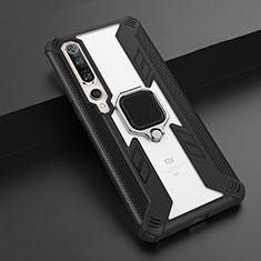 Xiaomi Mi 10 Pro用ハイブリットバンパーケース プラスチック アンド指輪 マグネット式 S02 Xiaomi ブラック