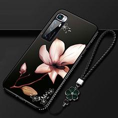 Xiaomi Mi 10 Ultra用シリコンケース ソフトタッチラバー 花 カバー S03 Xiaomi ブラウン