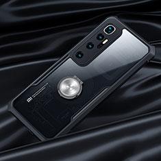 Xiaomi Mi 10 Ultra用360度 フルカバーハイブリットバンパーケース クリア透明 プラスチック 鏡面 アンド指輪 マグネット式 Xiaomi ブラック
