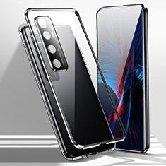 Xiaomi Mi 10 Ultra用ケース 高級感 手触り良い アルミメタル 製の金属製 360度 フルカバーバンパー 鏡面 カバー Xiaomi ブラック