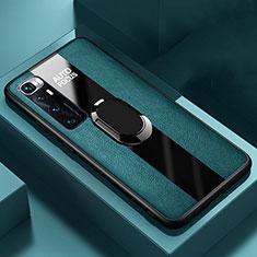 Xiaomi Mi 10 Ultra用シリコンケース ソフトタッチラバー レザー柄 アンド指輪 マグネット式 S02 Xiaomi グリーン