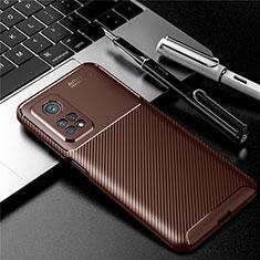 Xiaomi Mi 10T 5G用シリコンケース ソフトタッチラバー ツイル カバー S01 Xiaomi ブラウン