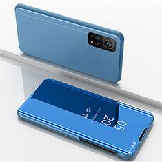 Xiaomi Mi 10T 5G用手帳型 レザーケース スタンド 鏡面 カバー Xiaomi ネイビー