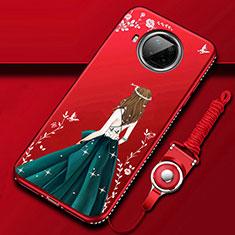 Xiaomi Mi 10T Lite 5G用シリコンケース ソフトタッチラバー バタフライ ドレスガール ドレス少女 カバー Xiaomi ワインレッド