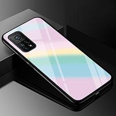 Xiaomi Mi 10T Pro 5G用ハイブリットバンパーケース プラスチック 鏡面 虹 グラデーション 勾配色 カバー Xiaomi カラフル