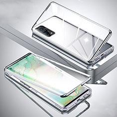 Xiaomi Mi 10T Pro 5G用ケース 高級感 手触り良い アルミメタル 製の金属製 360度 フルカバーバンパー 鏡面 カバー Xiaomi シルバー