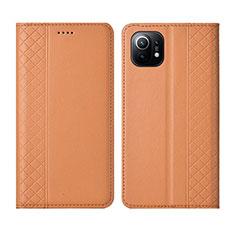 Xiaomi Mi 11 5G用手帳型 レザーケース スタンド カバー L03 Xiaomi オレンジ