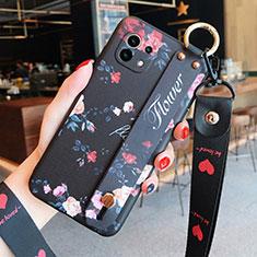 Xiaomi Mi 11 5G用シリコンケース ソフトタッチラバー 花 カバー Xiaomi ブラック