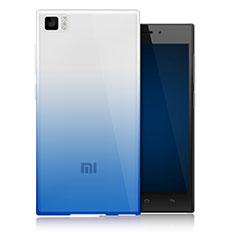 Xiaomi Mi 3用極薄ソフトケース グラデーション 勾配色 クリア透明 Xiaomi ネイビー