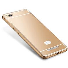Xiaomi Mi 4C用ケース 高級感 手触り良い メタル兼シリコン バンパー M01 Xiaomi ゴールド