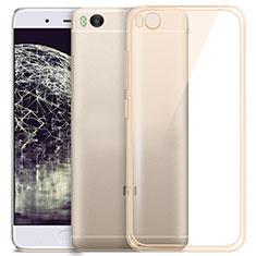 Xiaomi Mi 5S用極薄ソフトケース シリコンケース 耐衝撃 全面保護 クリア透明 Xiaomi ゴールド