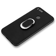 Xiaomi Mi 6用極薄ソフトケース シリコンケース 耐衝撃 全面保護 アンド指輪 A02 Xiaomi ブラック