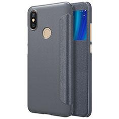 Xiaomi Mi 6X用手帳型 レザーケース スタンド L01 Xiaomi ブラック