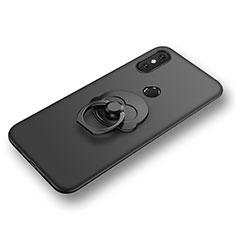 Xiaomi Mi 8用極薄ソフトケース シリコンケース 耐衝撃 全面保護 アンド指輪 バンパー Xiaomi ブラック