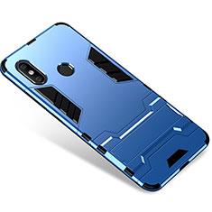 Xiaomi Mi 8用ハイブリットバンパーケース スタンド プラスチック 兼シリコーン カバー Xiaomi ネイビー