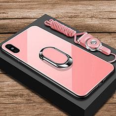Xiaomi Mi 8 Explorer用ハイブリットバンパーケース プラスチック 鏡面 カバー アンド指輪 Xiaomi ローズゴールド