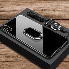 Xiaomi Mi 8 Explorer用ハイブリットバンパーケース プラスチック 鏡面 カバー アンド指輪 Xiaomi ブラック