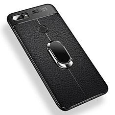 Xiaomi Mi 8 Lite用極薄ソフトケース シリコンケース 耐衝撃 全面保護 アンド指輪 マグネット式 バンパー Xiaomi ブラック