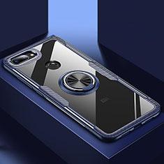 Xiaomi Mi 8 Lite用360度 フルカバーハイブリットバンパーケース クリア透明 プラスチック 鏡面 アンド指輪 マグネット式 Xiaomi ネイビー
