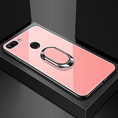Xiaomi Mi 8 Lite用ハイブリットバンパーケース プラスチック 鏡面 カバー アンド指輪 マグネット式 Xiaomi ローズゴールド