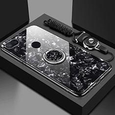 Xiaomi Mi 8 Lite用ハイブリットバンパーケース プラスチック 鏡面 カバー アンド指輪 マグネット式 A01 Xiaomi ブラック